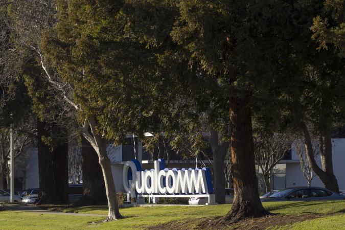 Santa Clara, California, USA - Feb 28, 2020: American multinational semiconductor and telecommunications equipment company Qualcomm Inc.'s Silicon Valley campus exterior.
