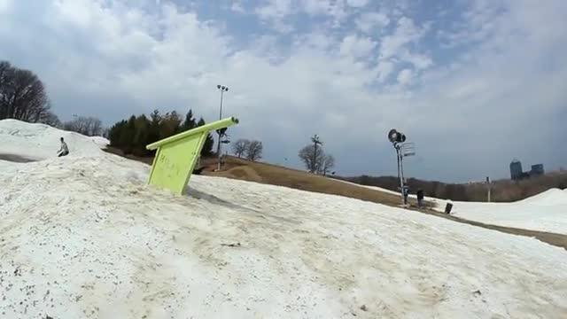 Extremely lucky snowboard wipeout?