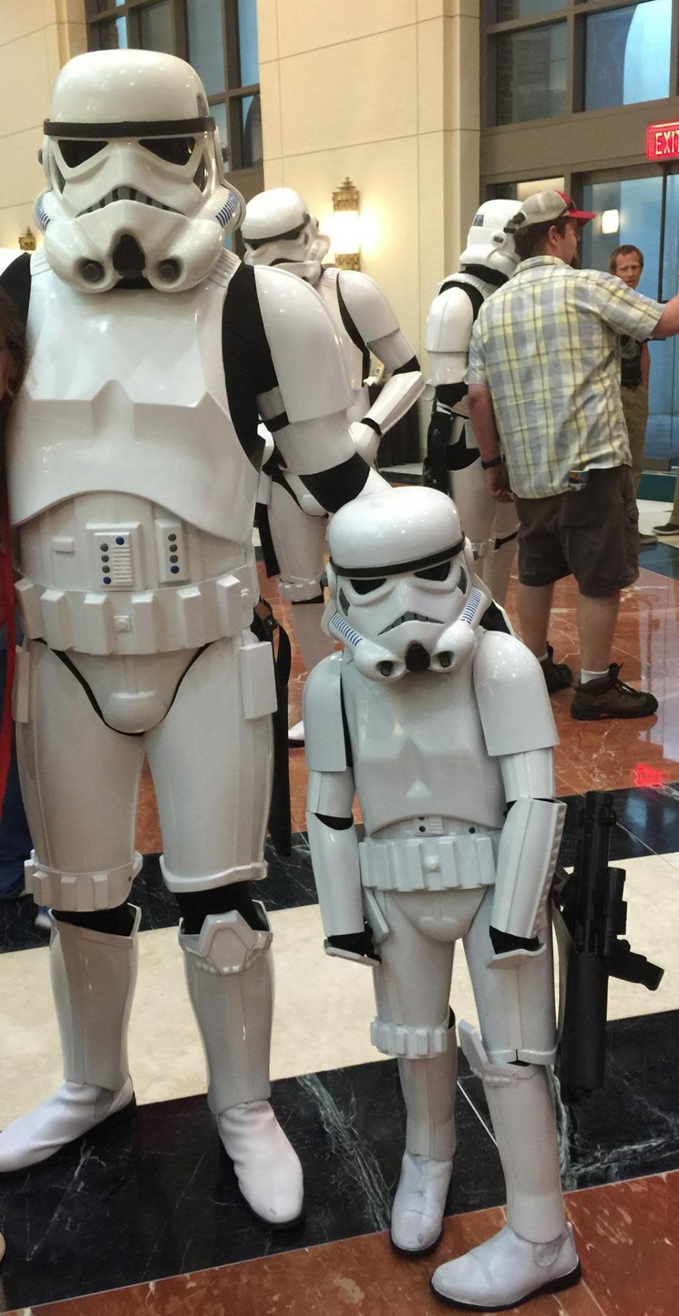 """<p>An attendee at the """"Weird Al"""" Yankovic concert snapped a photo of Layla in full costume with a fellow 501st Stormtrooper. (Photo: <a href=""""https://www.facebook.com/The501stLegion/photos/a.164650034751.117031.17637574751/10153566883249752/?type=1&theater"""" rel=""""nofollow noopener"""" target=""""_blank"""" data-ylk=""""slk:Facebook"""" class=""""link rapid-noclick-resp"""">Facebook</a>)</p>"""