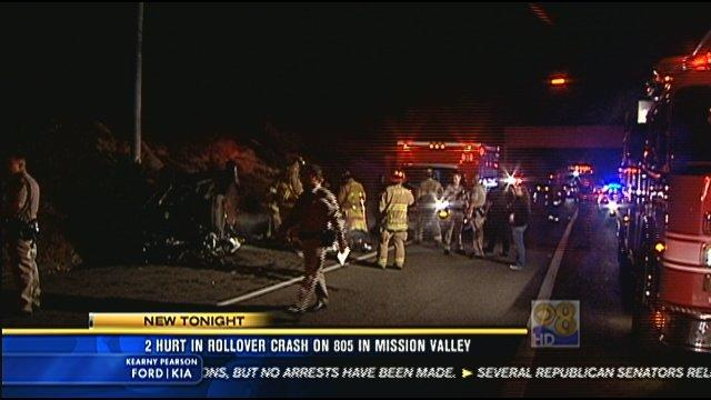 Two hurt in rollover crash in Mission Valley