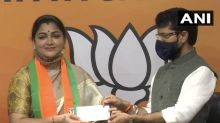 Khushbu Sundar dumps Congress, joins BJP