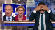 "Trevor Noah Covers His Eyes As ""Crazy"" Democratic Debate Descends Into Chaos"