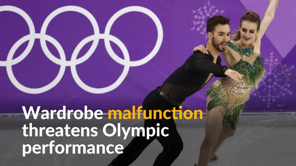 French ice dancer suffers wardrobe malfunction at the ...