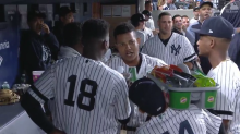 Yankees are doing mock interview dugout celebrations and they are incredible