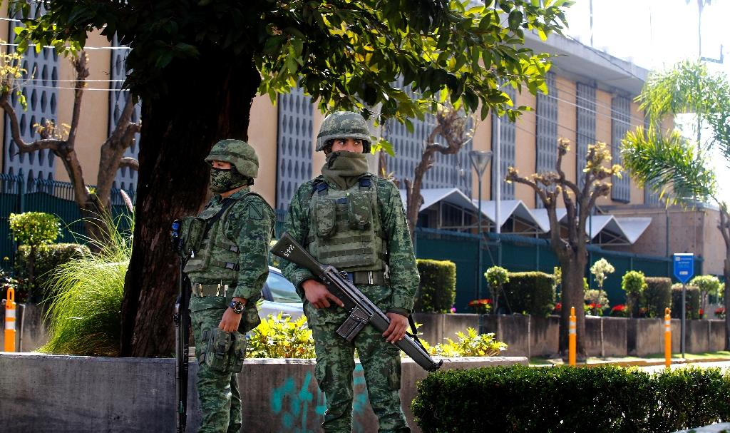 The blast left a 40-centimeter (16-inch) hole in an exterior wall of the US consulate in Guadalajara, pictured here