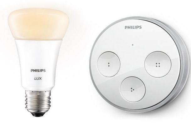 Philips adds web-connected tap switch, white-only lux bulb to Hue lighting lineup