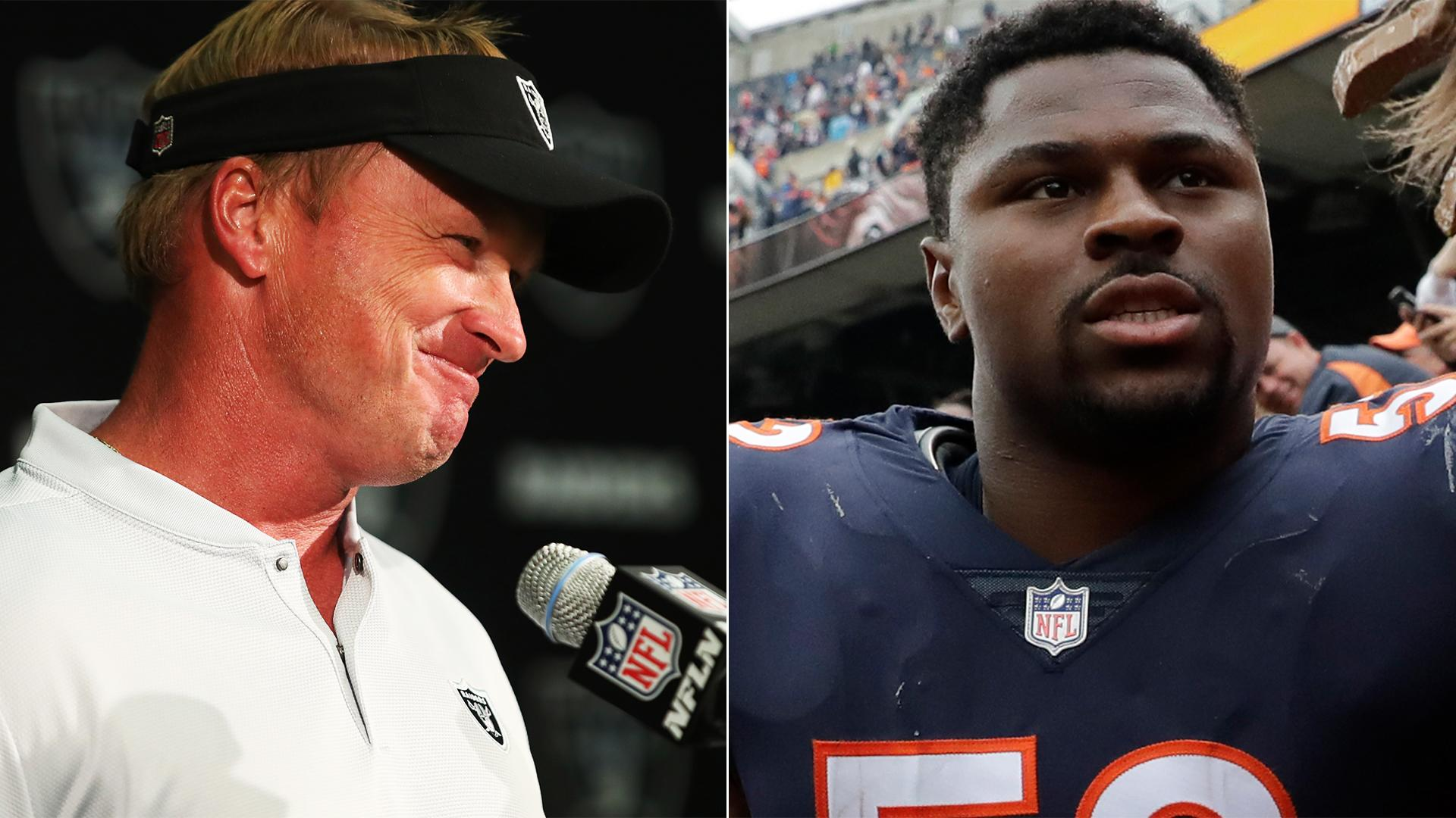 Jon Gruden reacts to latest Khalil Mack strip sack: 'Are you kidding me?'