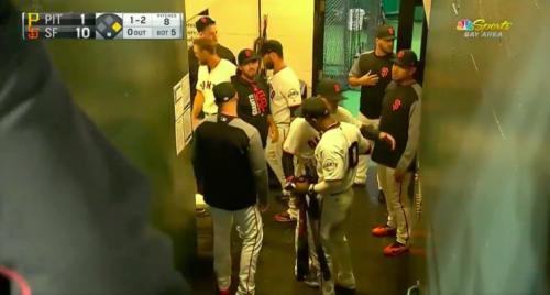 Eduardo Nunez says goodbye to his teammates in San Francisco. (Screenshot via @NBCSGiants on Twitter)