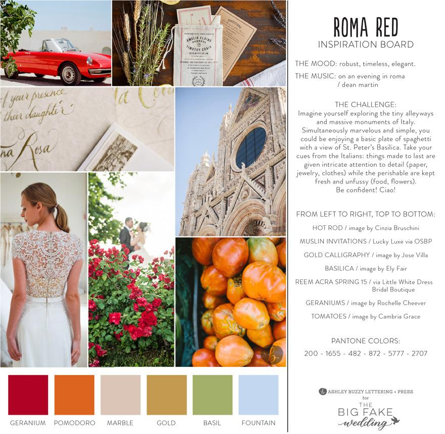 <p><i>Each vendor is given free range, provided it fits the evening's theme. They receive a one-page PDF inspiration board with the theme, the color scheme, and a fun mood-setting song to listen to while they plan. (Photo: The Big Fake Wedding)</i></p>