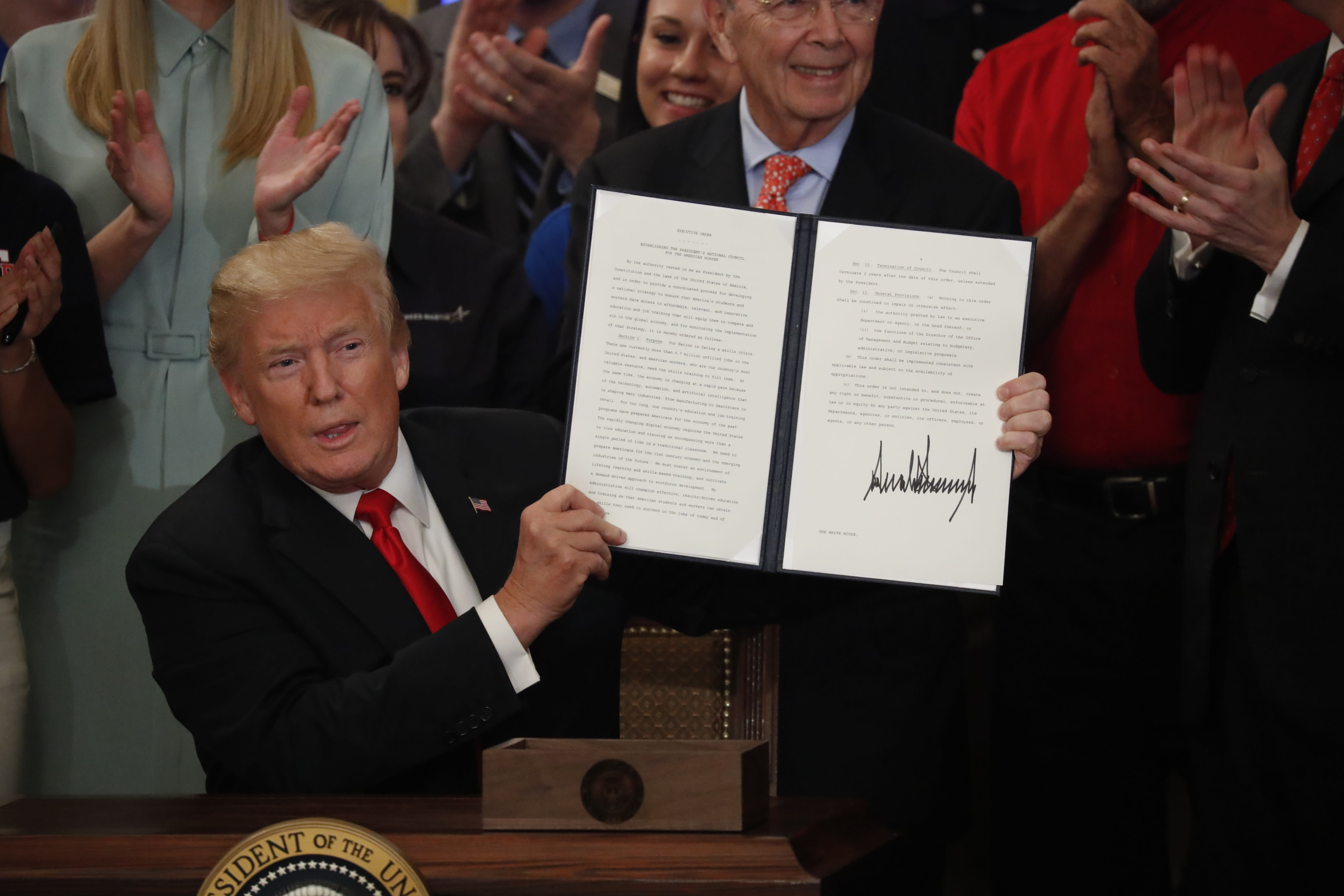 The Latest: Trump: US needs 'people with training' for jobs