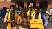 A look at TDP MP N Siva Prasad's unique costumes worn during his protests for special status for Andhra Pradesh