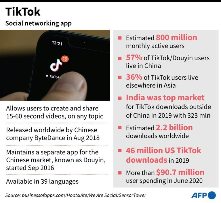 Factfile on Chinese video-sharing social networking app TikTok. (AFP Photo/Janis LATVELS)