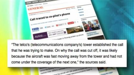 NST REPORT: MID-FLIGHT CALL MADE AND TRACED BACK TO CO-PILOT'S PHONE