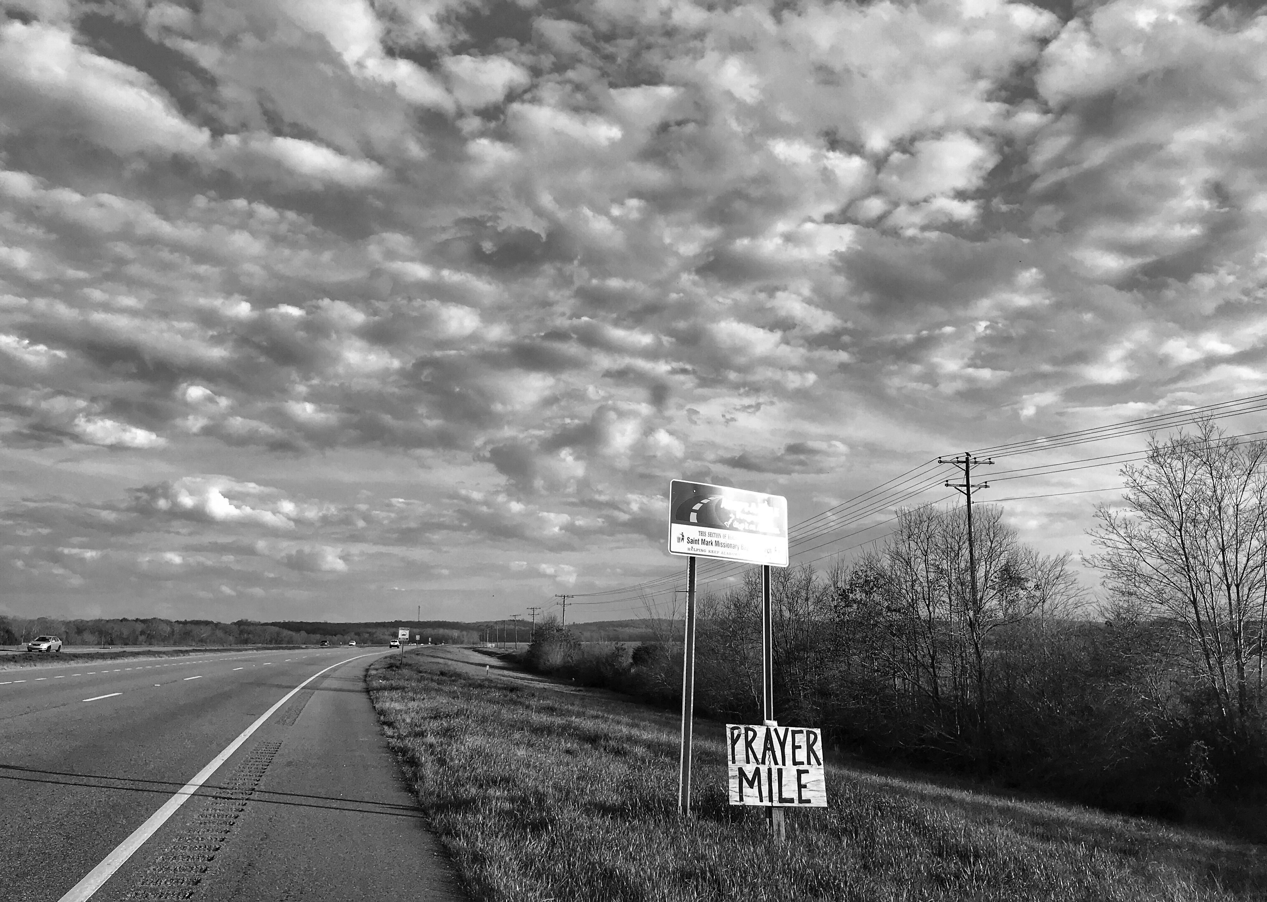 """<p>A sign advertising """"prayer mile"""" on Highway 80 outside Selma, Ala., the route taken by participants in the 1965 Selma to Montgomery freedom march. (Photo: Holly Bailey/Yahoo News) </p>"""