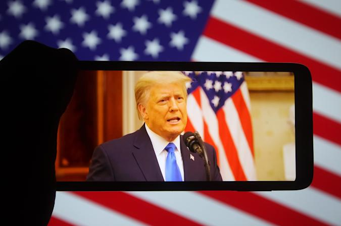 In this photo illustration the US President Donald Trump...