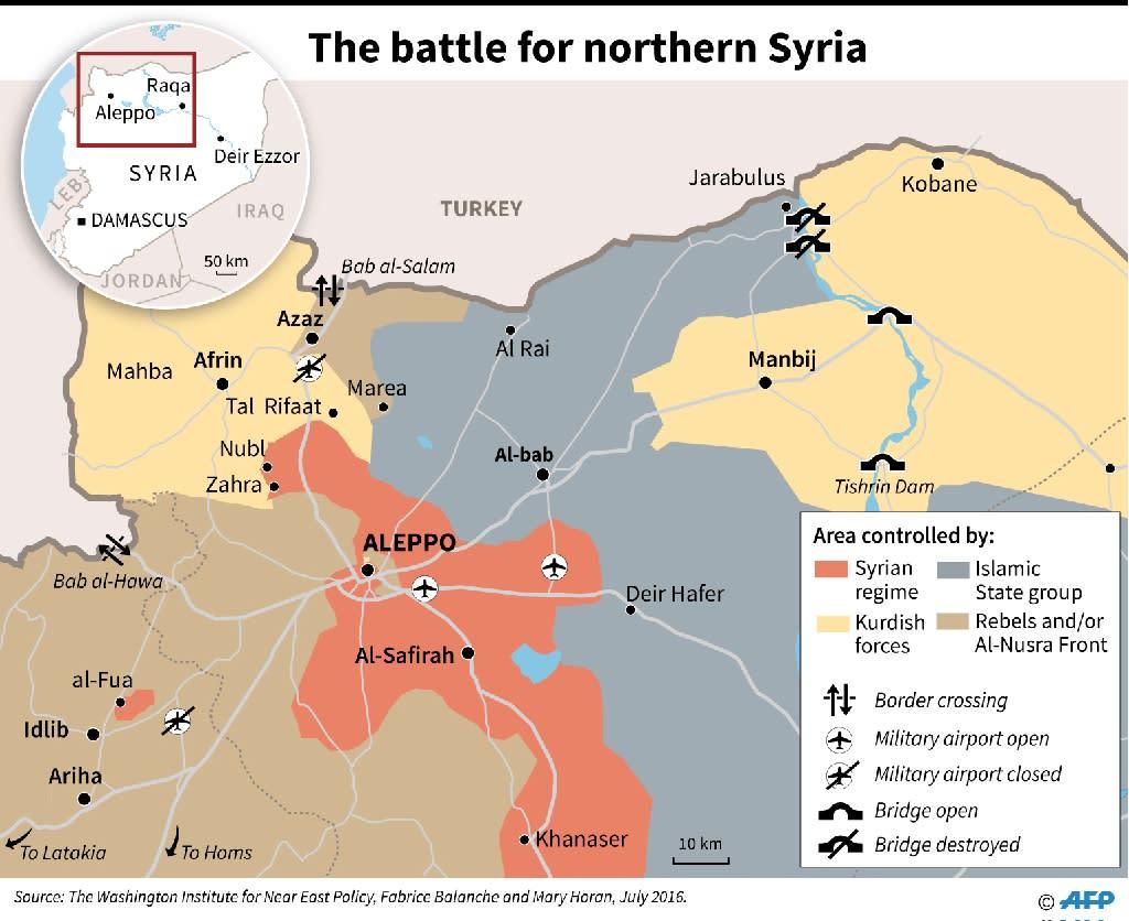 The battle for northern Syria (AFP Photo/Paz Pizarro, Jonathan Walter, Omar Kamal)