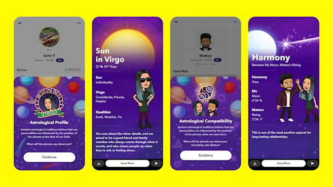 Snapchat's new astrological profiles.