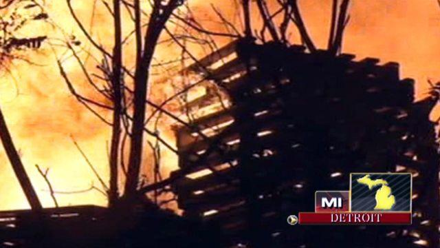 Across America: Detroit factory goes up in flames
