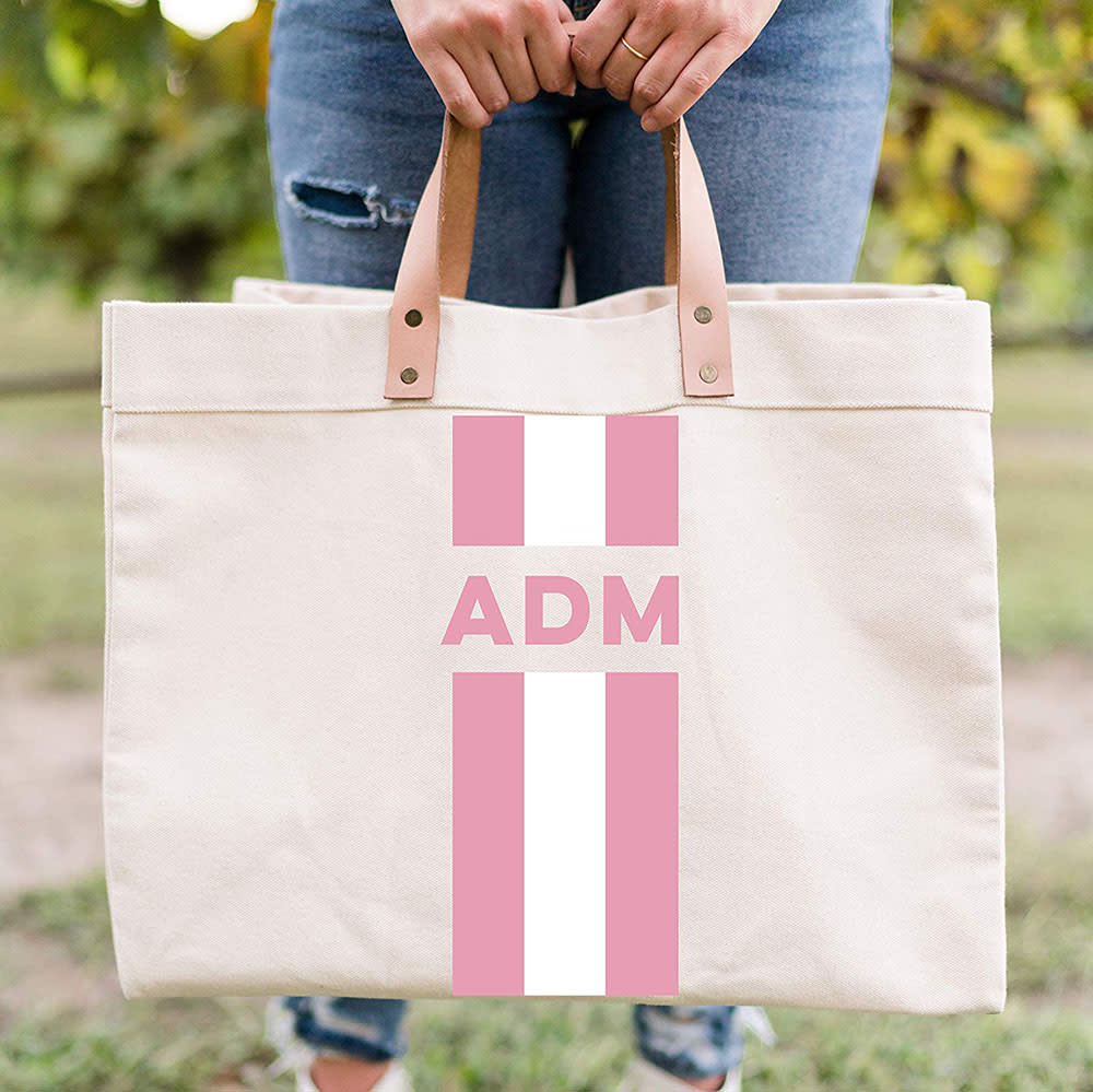 Tickeld Pink Amazon Homemade monogrammed tote