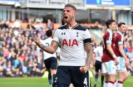 Tottenham's Toby Alderweireld celebrates after Tottenham's Eric Dier (not pictured) scored their first goal
