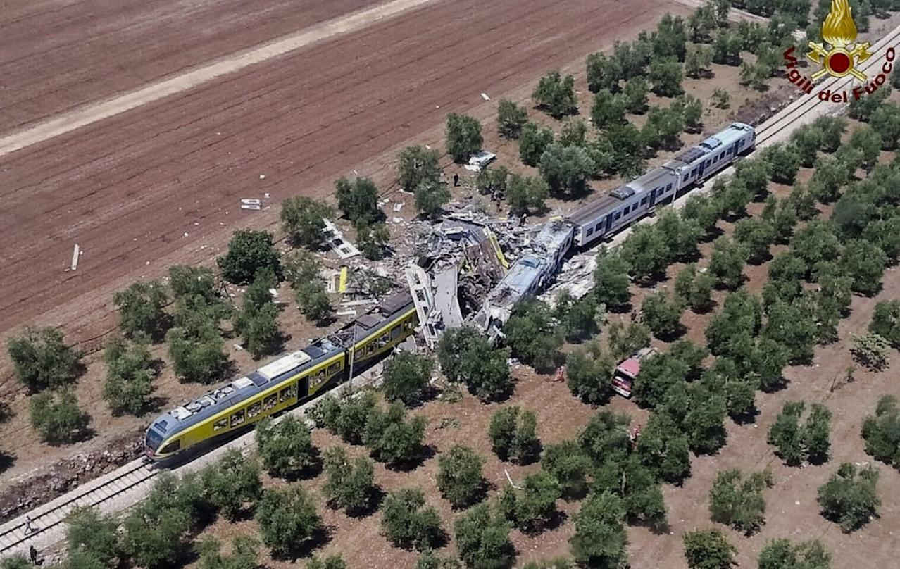<p>This aerial handout photo shows what is left of two commuters trains after their head-on collision in the southern region of Puglia, Tuesday, July 12, 2016. (Italian Firefighter Press Office via AP) </p>