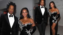 Beyonce wears extreme thigh high split dress for Diddy's 50th birthday