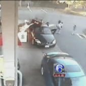 VIDEO: Woman rescues children from burning car at Connecticut gas station