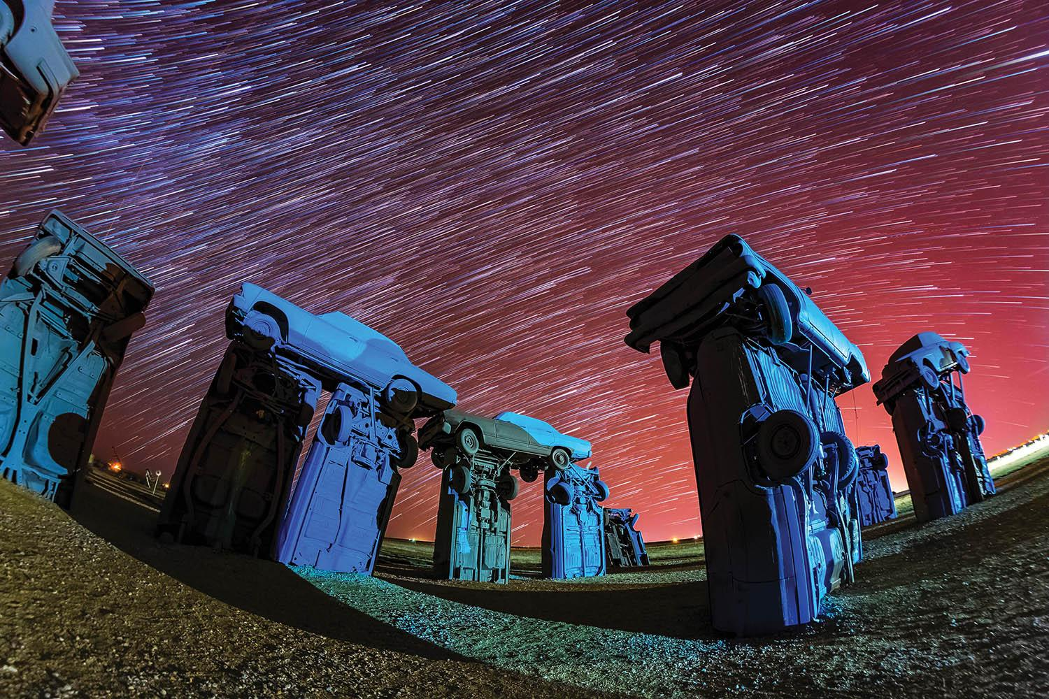 <p>Gavin Heffernan and Harun Mehmedinovic travelled more than 150,000 miles to a staggering 500 locations across North America in order to capture the works. (SKYGLOW/CATERS NEWS) </p>