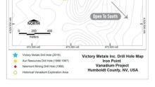 Victory Metals Initial Drilling at Iron Point Confirms Widespread Vanadium Mineralization and Discovers New High Grade Zone