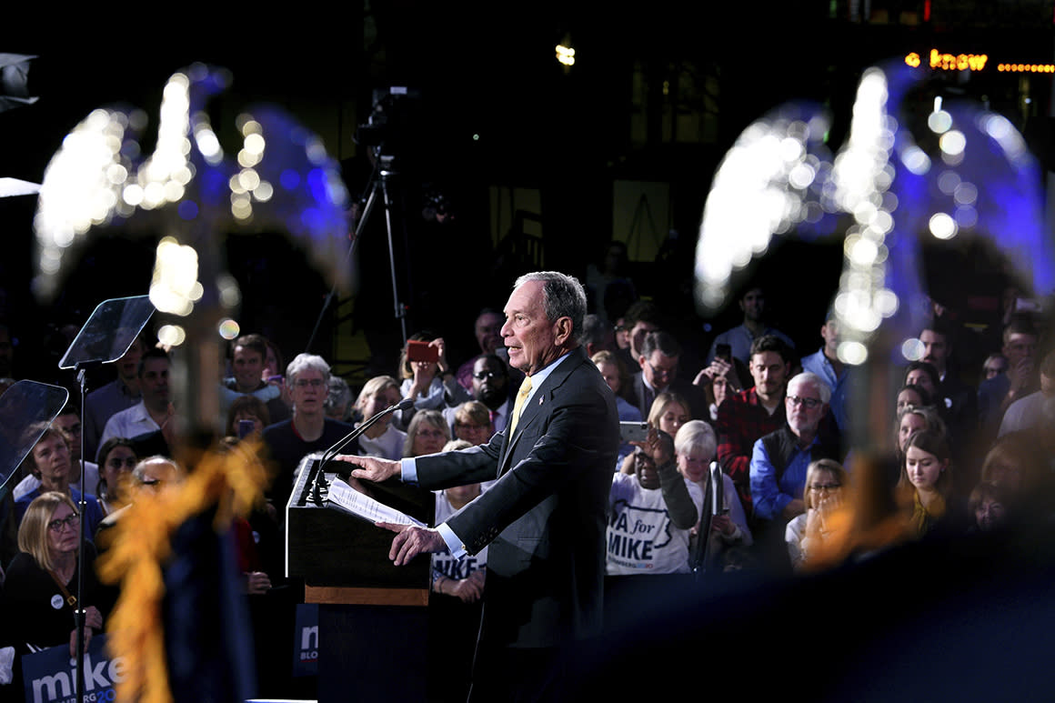 Bloomberg tumbles heading into Super Tuesday