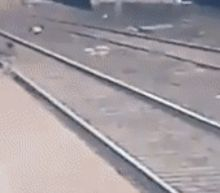 Video shows man rescuing child who fell onto tracks as train barrels into station