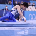 Japan's gymnastics legend falls to floor in final Olympics moment