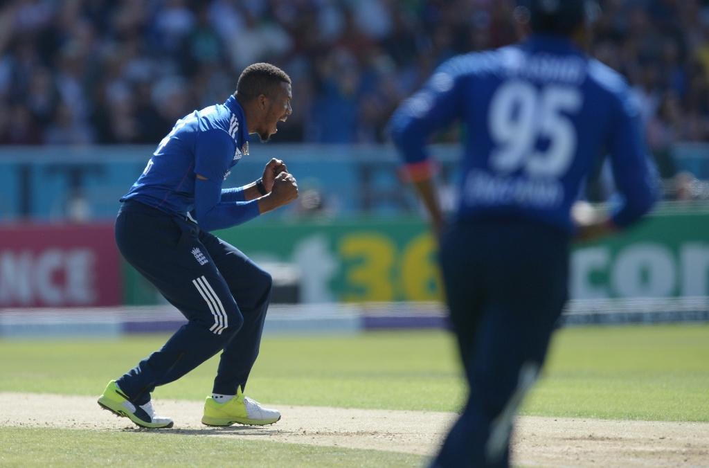 England's Chris Jordan celebrates a wicket during the fourth one-day international against Pakistan at Headingley on September 1, 2016. (AFP Photo/Oli Scarff)