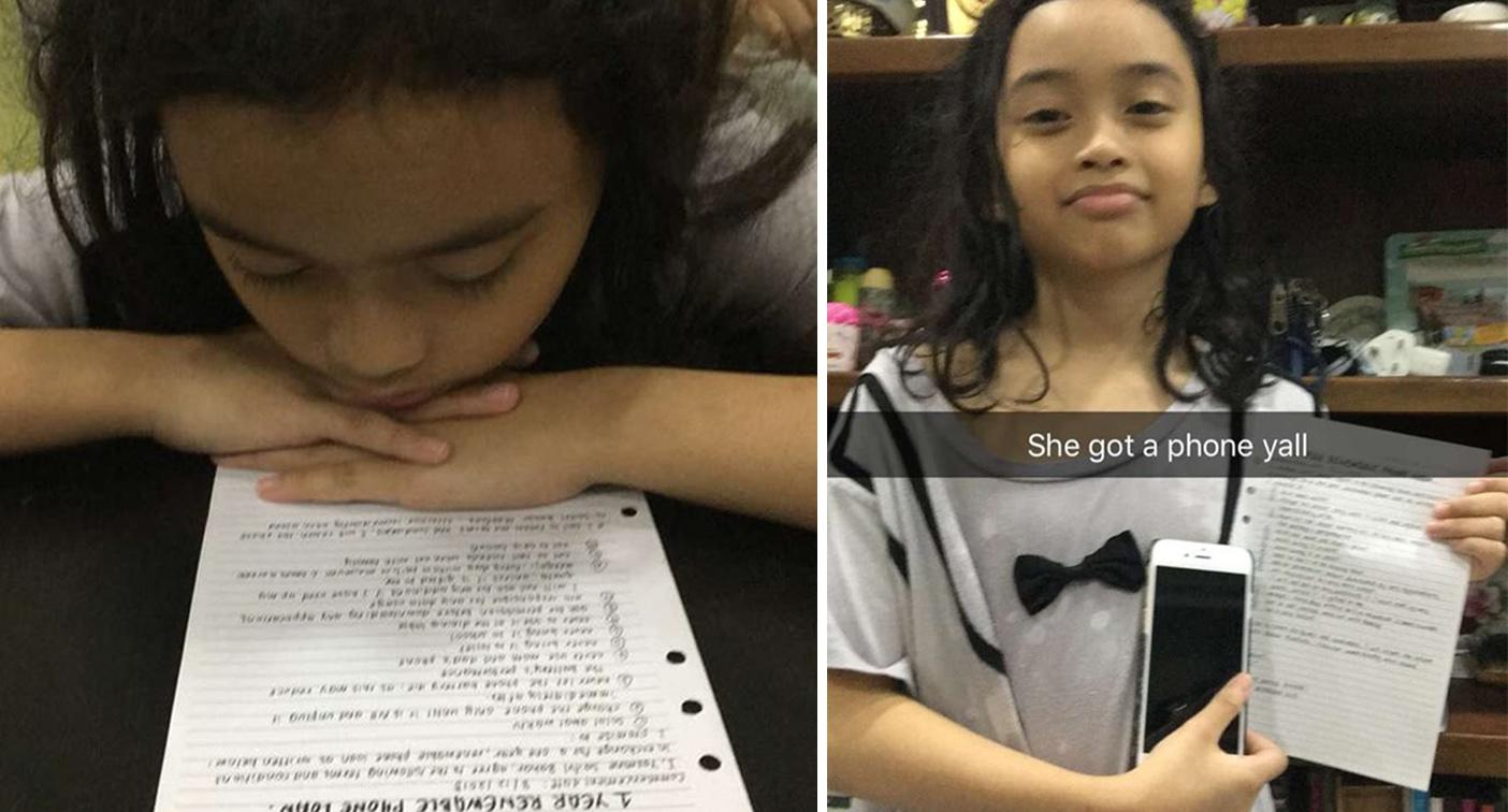 Ten-year-old signs strict list of rules before getting first mobile phone