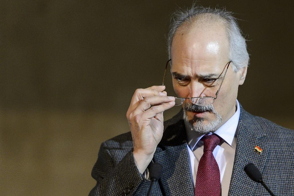 government negotiator Bashar al-Jaafari, seen in April 2016, is a silver-haired diplomat who speaks multiple languages and belongs to the same Alawite religious minority as President Bashar al-Assad (AFP Photo/FABRICE COFFRINI)