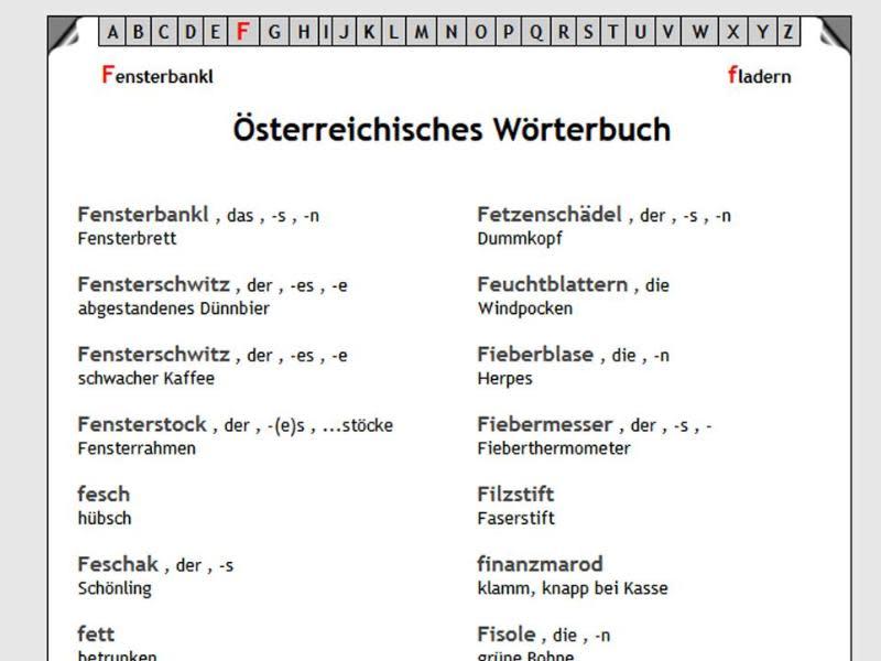 Die Ogrosl und der Feschak - Lexikon für Österreichisch