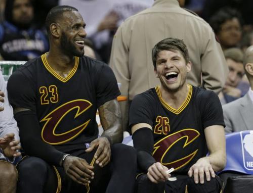 LeBron James taught Kyle Korver there's more time to rest in blowouts, too. (AP)