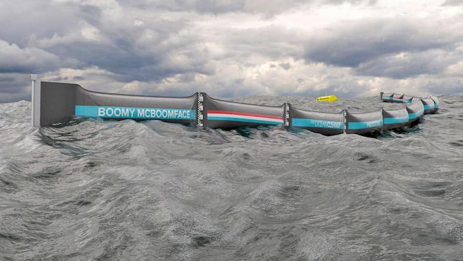 328 foot-long floating barrier will collect ocean trash