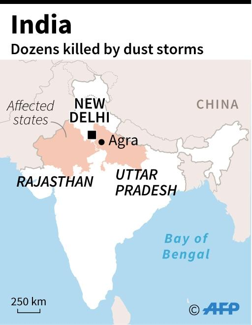 Map of India locating states with deadly dust storms. (AFP Photo/Laurence CHU)