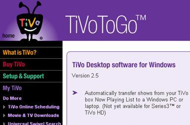 TiVoToGo v2.5 supports Vista / DivX, release imminent