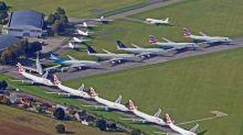 Luftaufnahmen eines Jumbo-Jet-Friedhofs stillgelegter Flugzeuge von British Airways