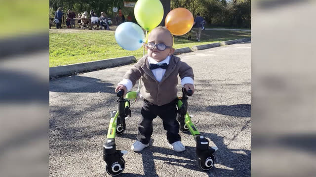 Toddler's viral 'Up' Halloween costume embraces his cerebral palsy