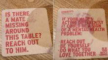 Photos of coaster with messages about men's mental health go viral