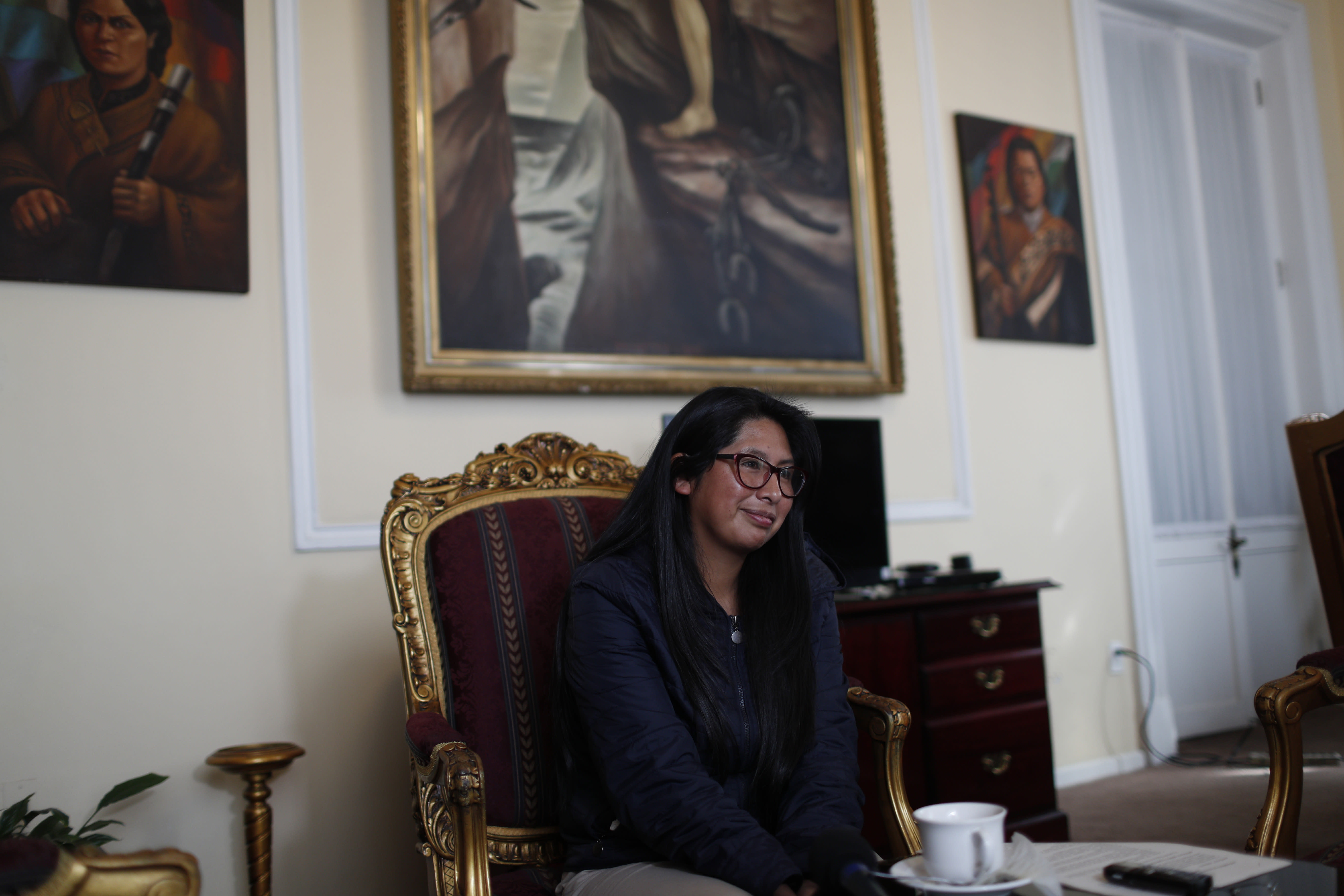 Bolivia's President of the Senate Monica Eva Copa speaks during an interview at the Plurinational Legislative Assembly in La Paz, Bolivia, Tuesday, Nov. 26, 2019. Evo Morales fell because of treasons, mistakes and because some became drunk with power, said Copa during the interview. (AP Photo/Juan Karita)