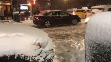 Cars Stuck on Snow Covered Streets in New York City Amid Storm Chaos