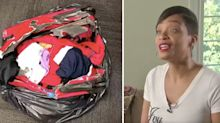 Woman finds 'shredded and burnt' suitcase in garbage bag on carousel