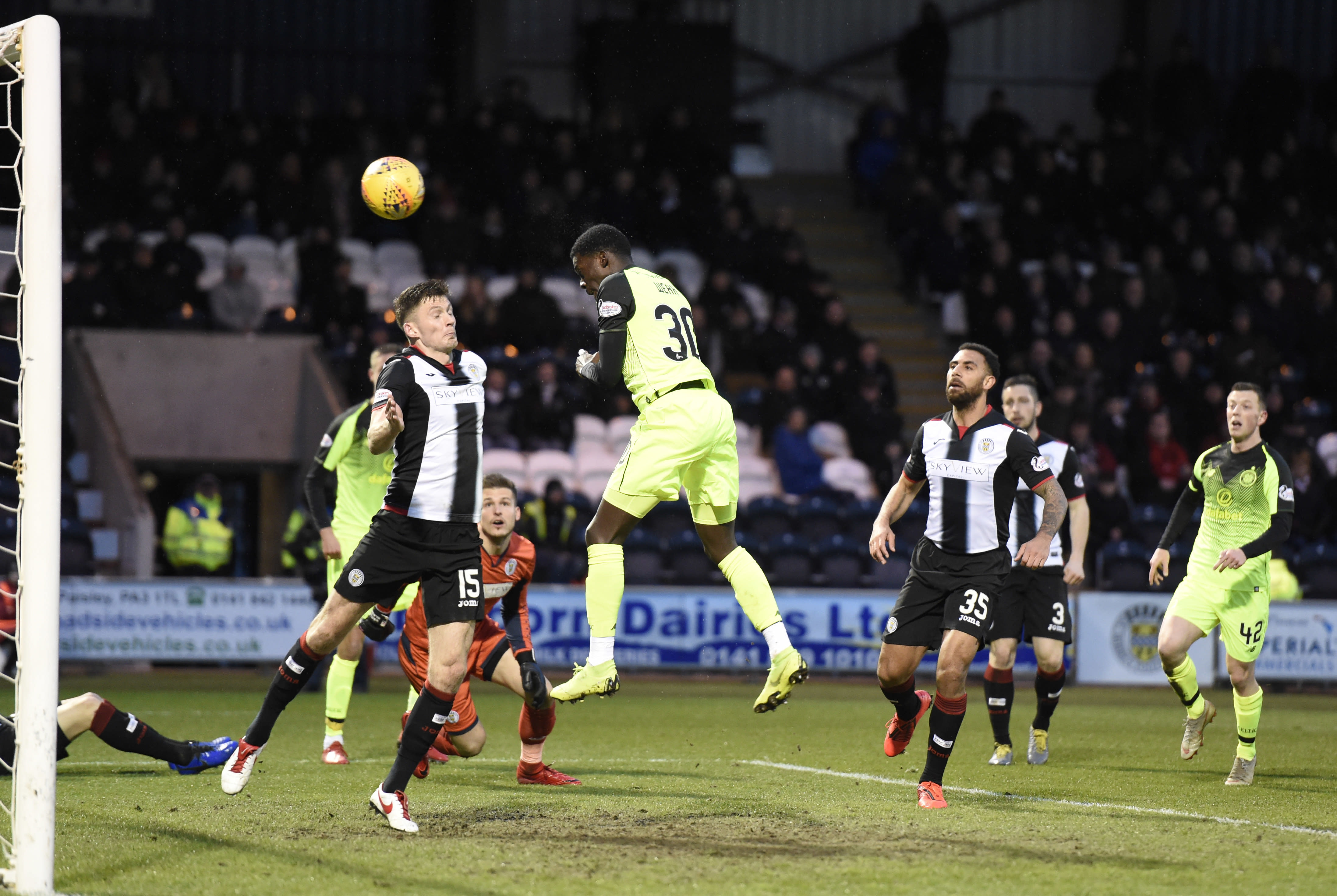 Celtic's Timothy Weah scores his side's first goal of the game during the Scottish Premier League soccer match against St Mirren Wednesday April 3, 2019. American forward Tim Weah scored in his first start in two months, helping Celtic win 2-0 at St. Mirren in the Scottish Premier League. (Ian Rutherford/PA via AP)
