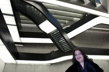Iraqi-born architect Zaha Hadid poses inside Maxxi museum of contemporary art and architecture in Rome