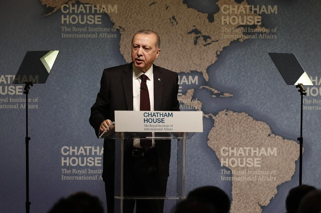 "Turkish President Recep Tayyip Erdogan told think tank Chatham House that the US embassy move from Tel Aviv to Jerusalem was ""very, very unfortunate"""