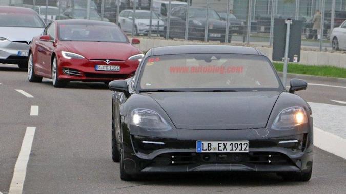 Porsche Mission E caught testing against Teslas